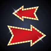 Arrow shaped signs in retro style