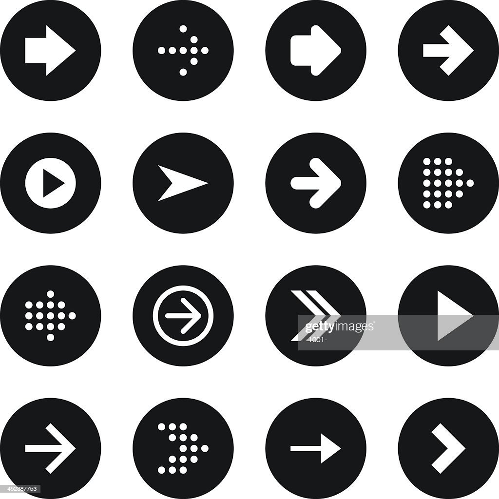Arrow sign black circle button icon flat plain simple style