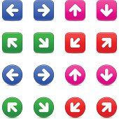 Arrow sign direction icon blue pink green red navigation button