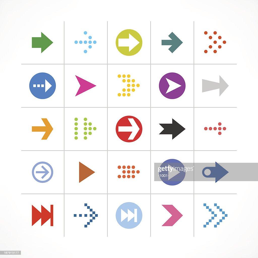 Arrow sign direction pictogram web button color simple minimal icon