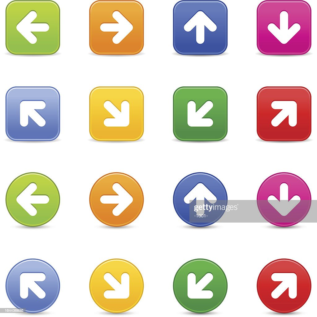 Arrow sign web button icon with shadow on white background