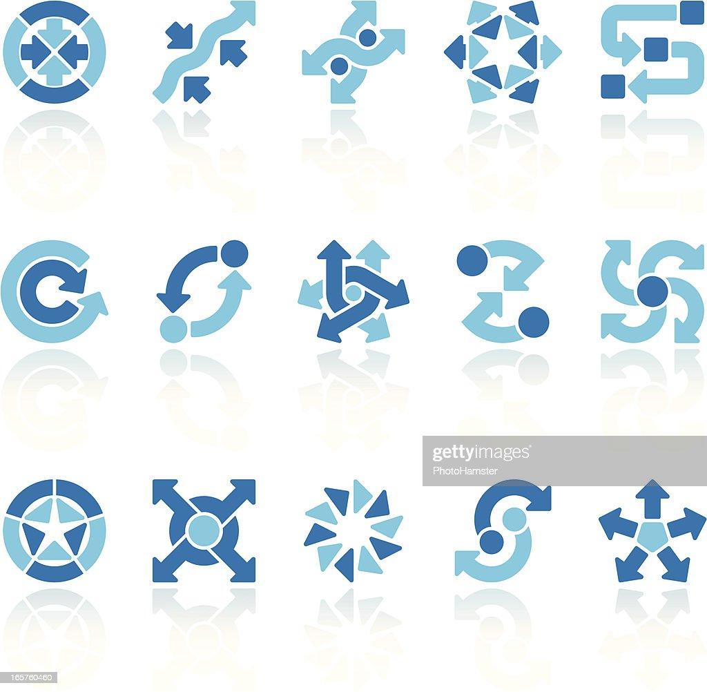 arrow signs set blue IX