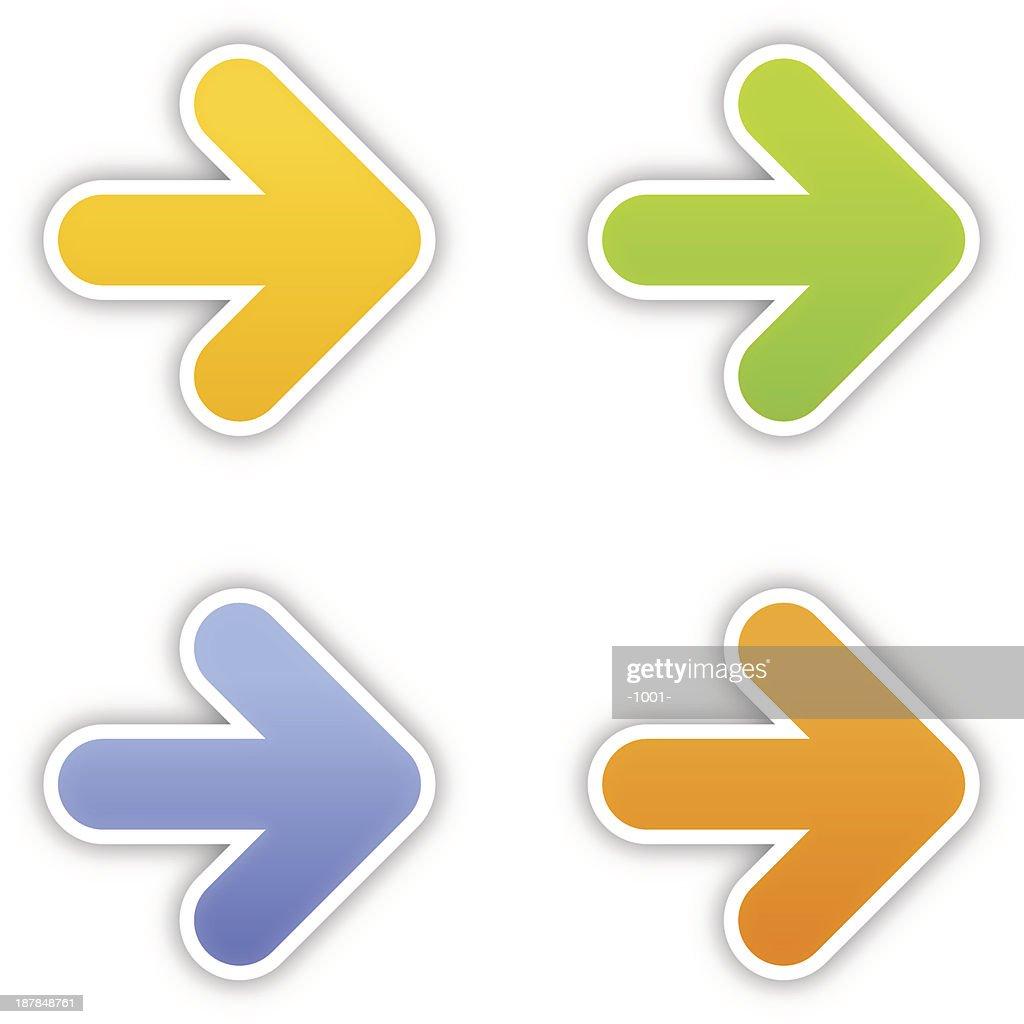 Arrow sticker color label satin icon web button gray shadow