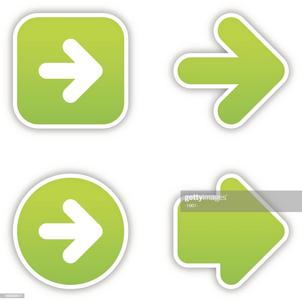 Arrow sticker green label satin icon web button gray shadow