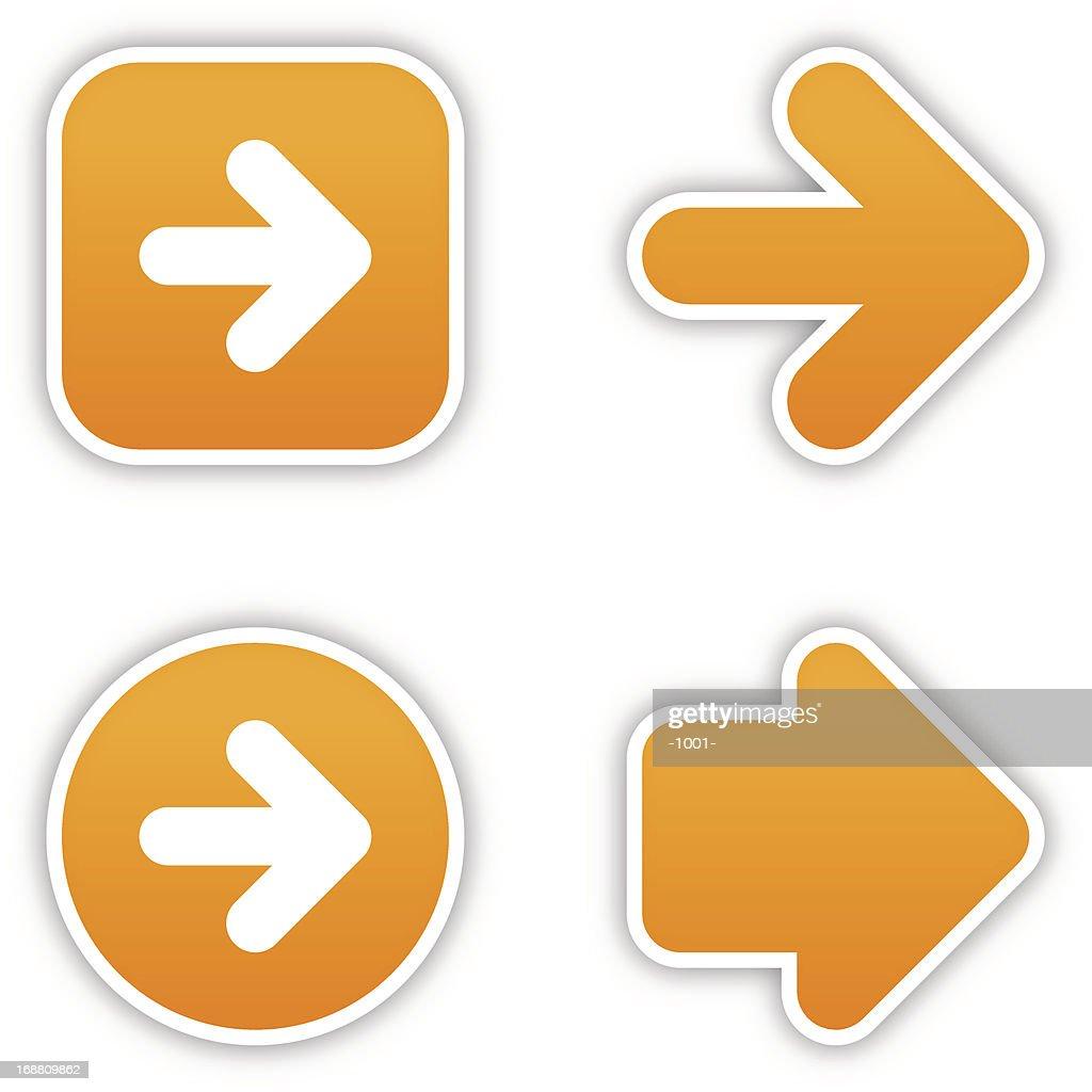 Arrow sticker orange label satin icon web button gray shadow