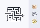 Arrow Through Maze - Pastel Stroke Icons