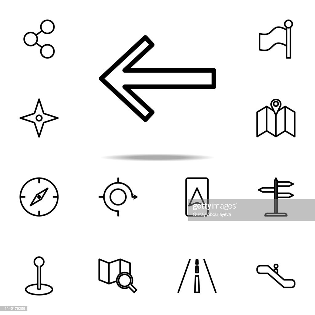 arrow to left icon. Navigation icons universal set for web and mobile