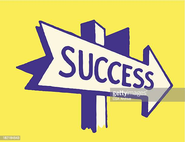 arrow to success sign - directional sign stock illustrations