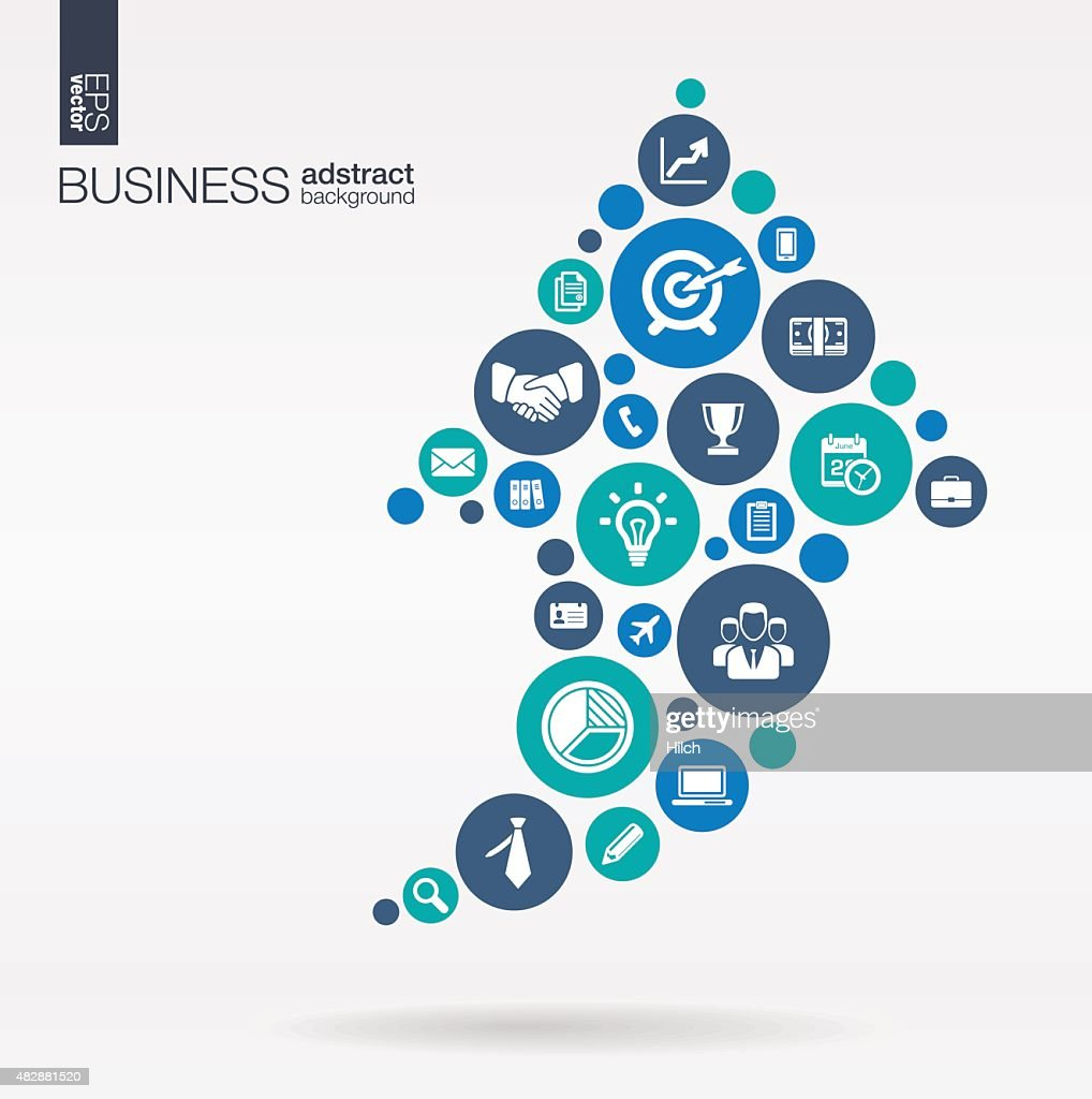 Arrow up shape business illustration: connected circles, integrated flat icons