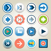 Arrow vector 3d button icon set. Isolated interface line symbol for app, web and music digital illustration design. Application sign element collection.
