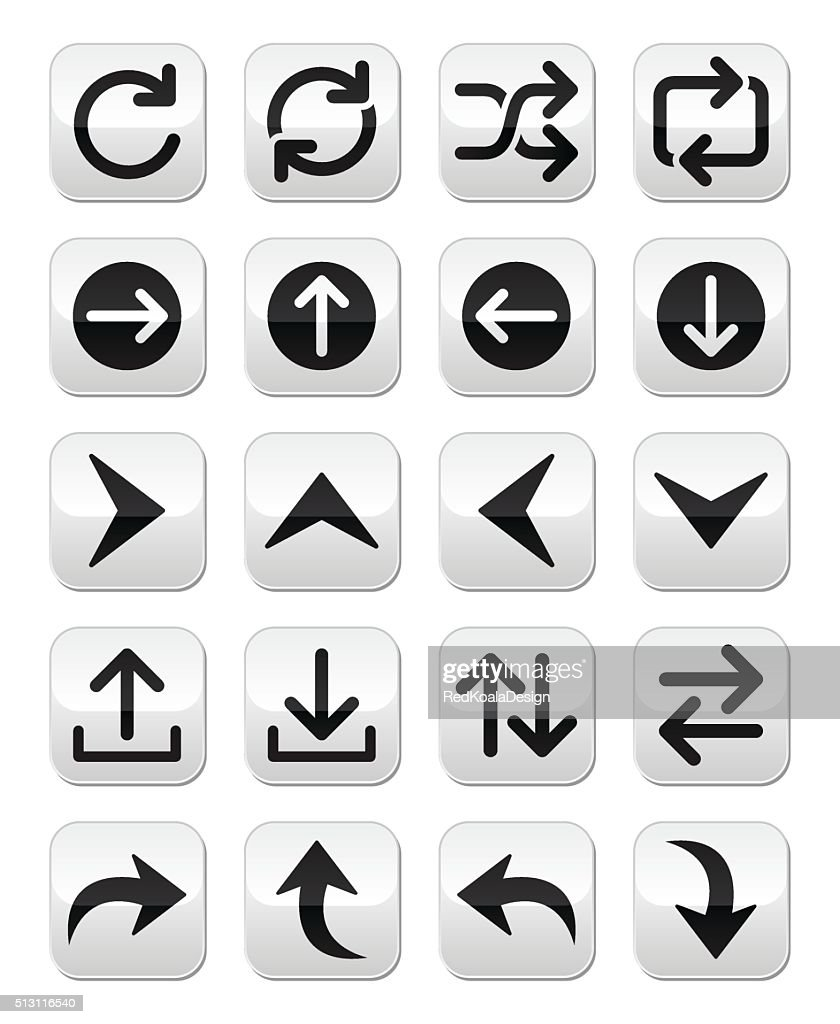 Arrow vector button sets isolated on white