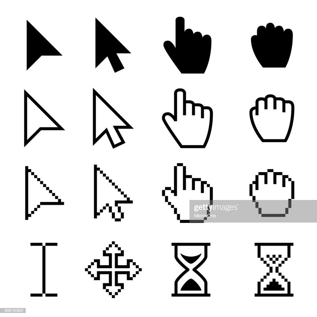 Arrow web cursors, digital hand pointers vector black pictograms