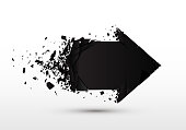Arrow with debris isolated. 3d black sign with explosion effect