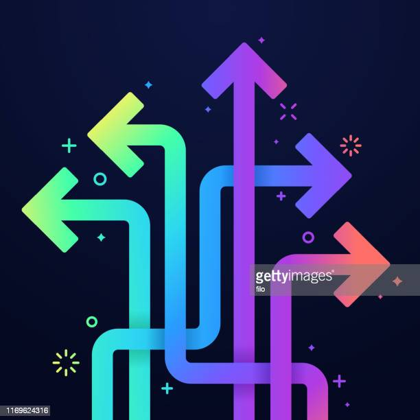 arrows abstract vibrant color choices concept - choice stock illustrations