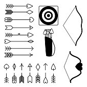 Arrows and bows clipart happy valentine's day set vector illustration.