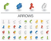 Arrows and direction isometric icons. 3d vector