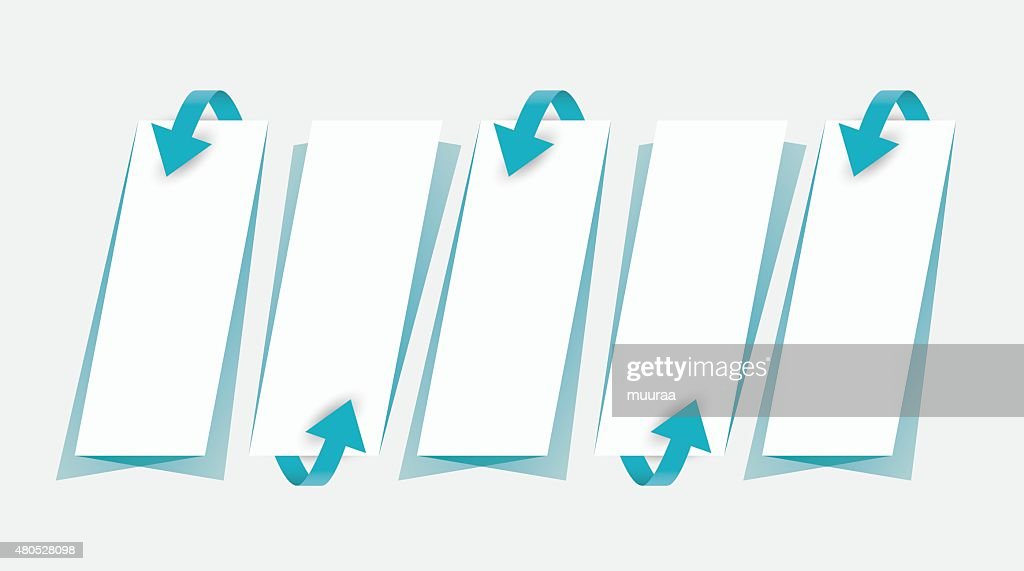 Pfeile und Papiere mit Schatten, Kollektion : Vektorgrafik