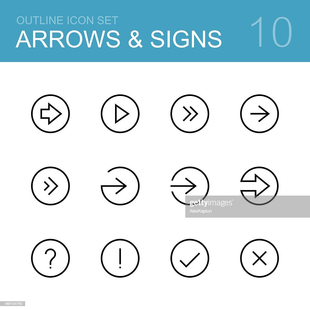 Arrows and signs vector outline icon set