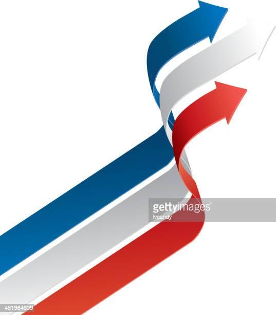 矢印の色は、フランスの国旗