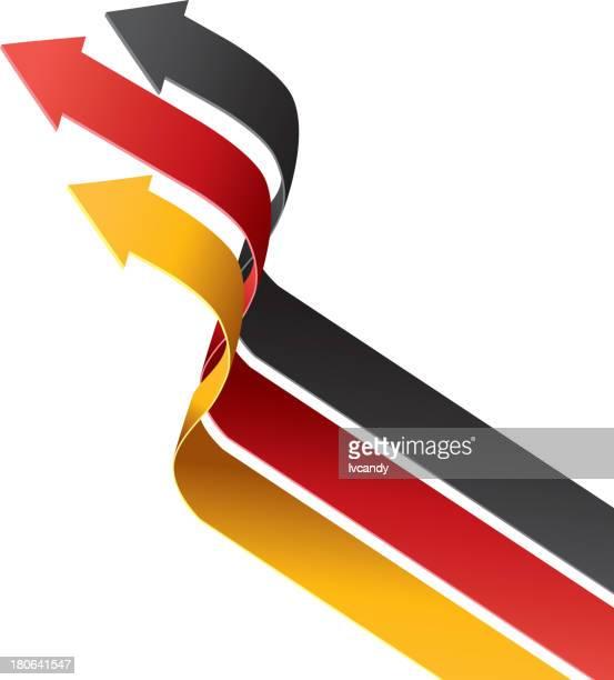 pfeile sind den farben der deutschen flagge - deutsche flagge stock-grafiken, -clipart, -cartoons und -symbole