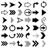 Arrows big black set icons. Arrow icon isolated on white background Vector illustration