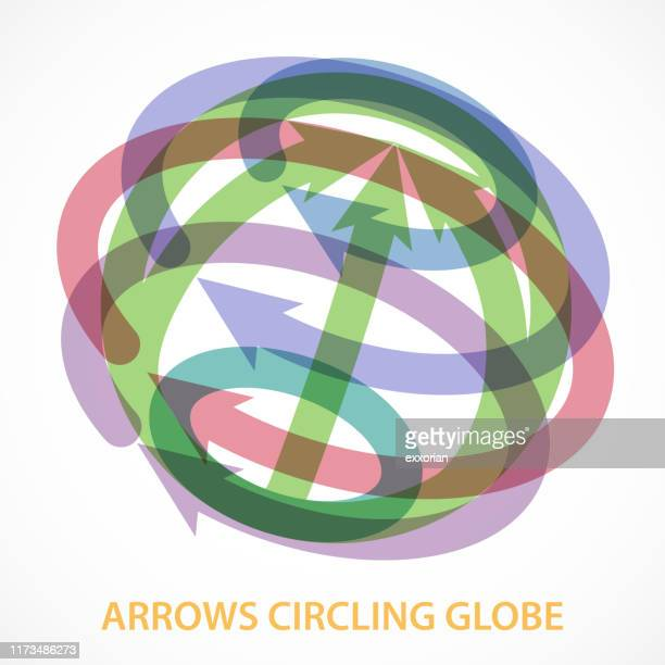 arrows circling globe - surrounding stock illustrations