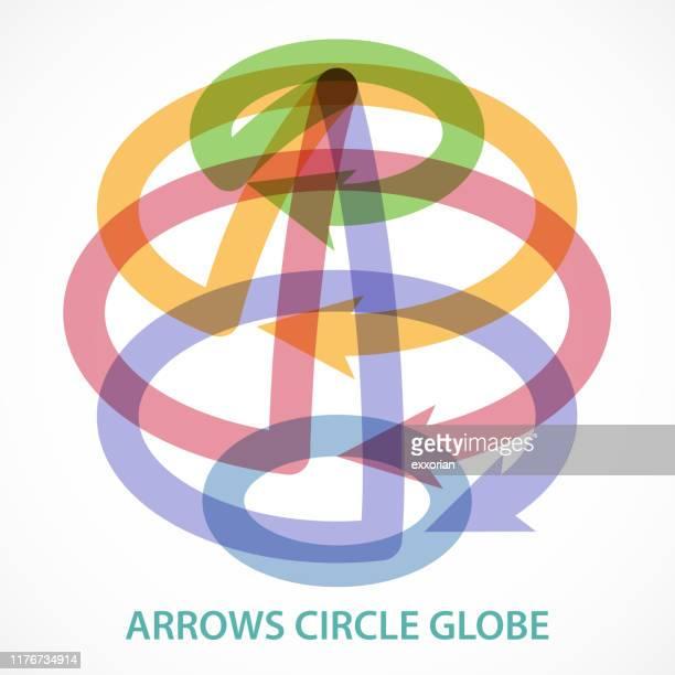stockillustraties, clipart, cartoons en iconen met pijlen cirkelen globe - international match