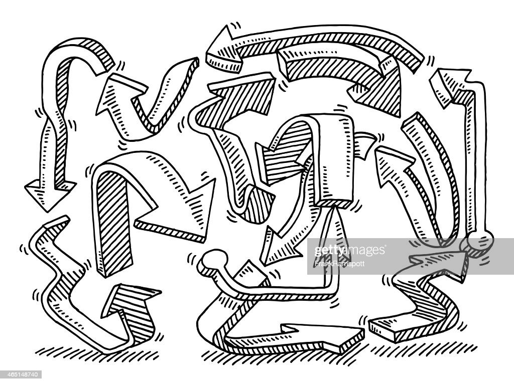 Circuito Ups : Arrows circuitous route drawing vector art getty images