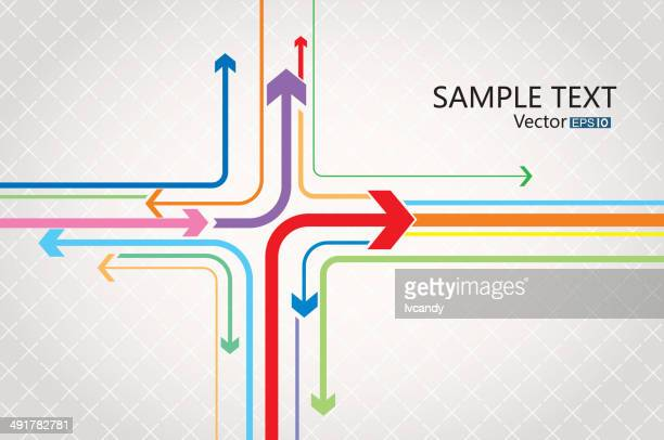 arrows direction - road intersection stock illustrations