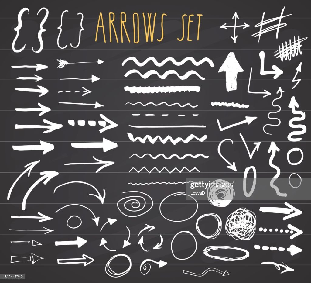 Arrows, dividers and borders, elements hand drawn set vector illustration on chalkboard background.