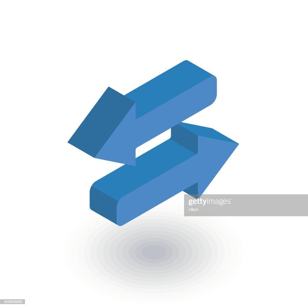 Arrows Exchange isometric flat icon. 3d vector