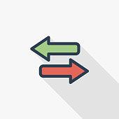 Arrows Exchange thin line flat color icon. Linear vector symbol. Colorful long shadow design.