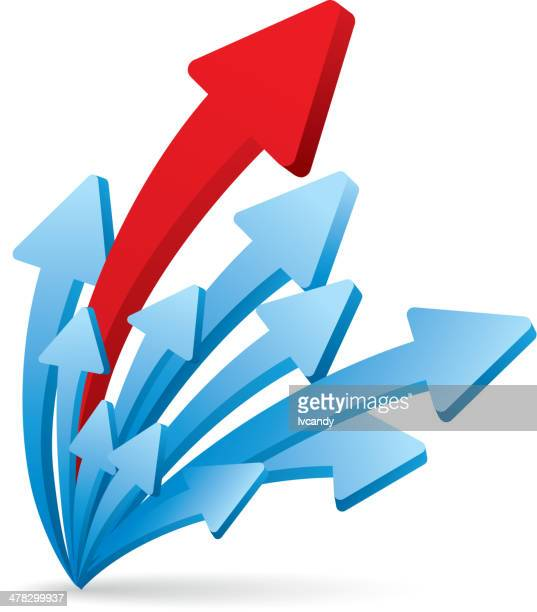 pfeile growthing - zielen stock-grafiken, -clipart, -cartoons und -symbole