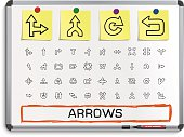 Arrows hand drawing line icons.