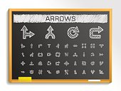 Arrows hand drawing sketch icons set. Vector doodle blackboard illustration