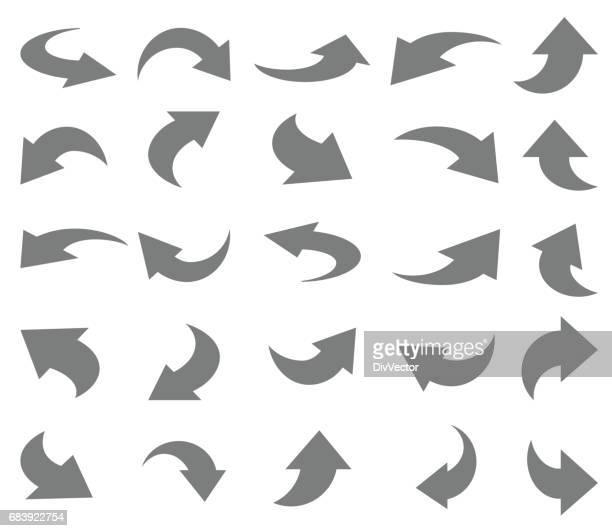 arrows icon set - bending stock illustrations