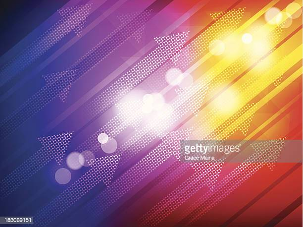 arrows in abstract background - vector - flare stack stock illustrations, clip art, cartoons, & icons