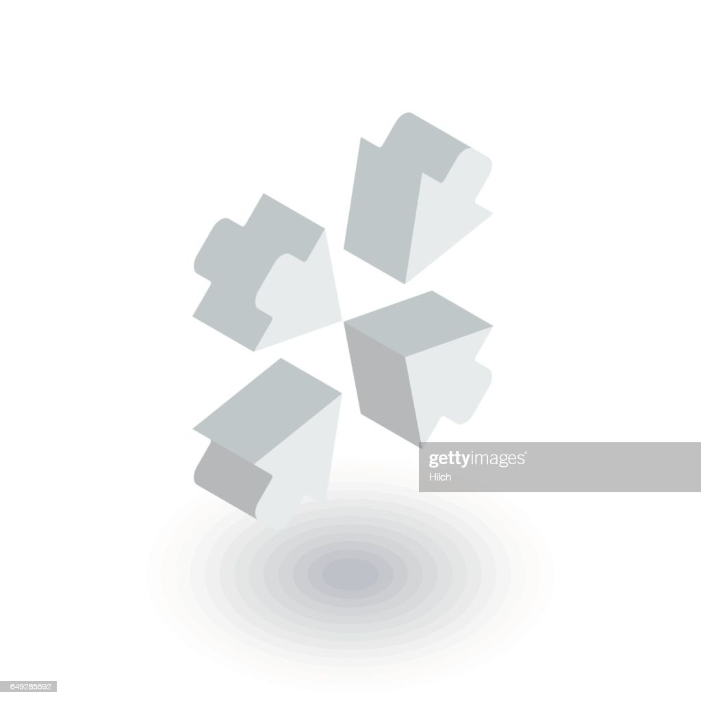 Arrows in the center isometric flat icon. 3d vector