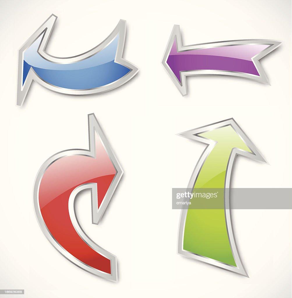 Arrows in various colors. Vector