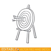 Arrows in wooden targets. Editable vector icon in linear style
