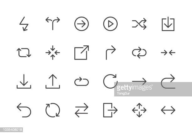 arrows - line icons - stream stock illustrations