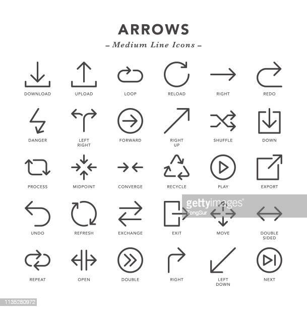arrows - medium line icons - leaving stock illustrations