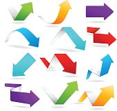 3D arrows of different colors bend and point all directions