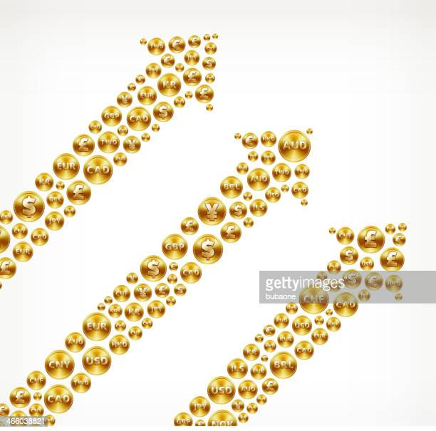 arrows on gold coin buttons - fiscal year stock illustrations