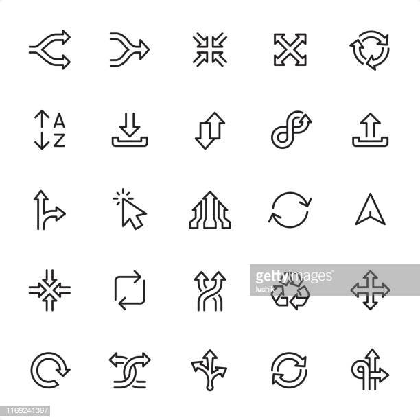 arrows - outline icon set - shuffling stock illustrations