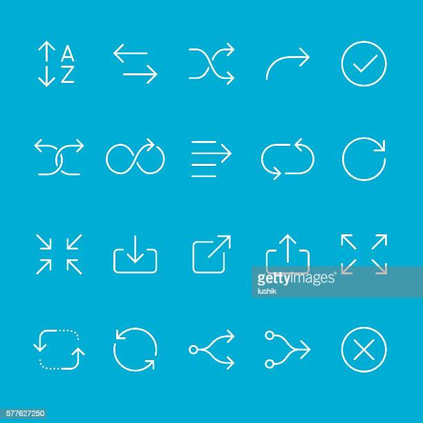 arrows outline icons - shuffling stock illustrations