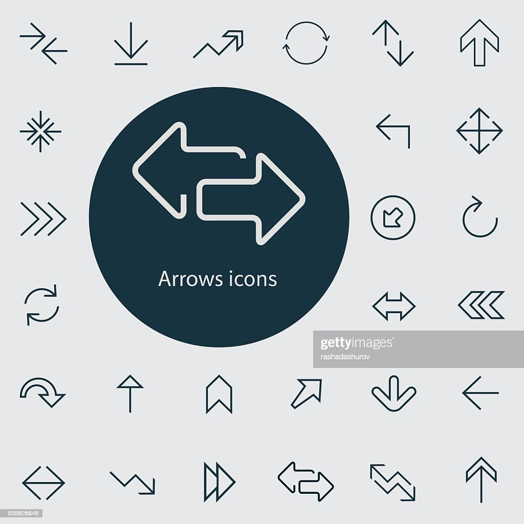 Arrows outline, thin, flat, digital icon set