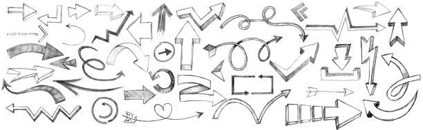 arrows pencil - pencil drawing stock illustrations