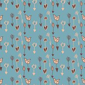 Arrows seamless pattern in blue and beige colors