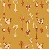 Arrows seamless pattern in warm colors